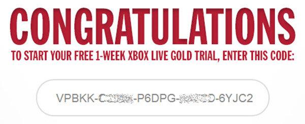 codice 1 settimana xbox live gold