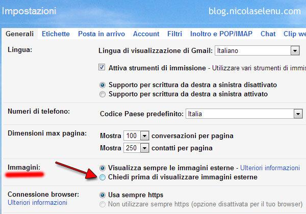 disattivare scaricamento automatico immagini gmail conferma prima di scaricare le immagini email google