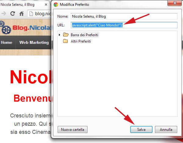 eseguire javascript chrome bookmarks segnalibri google chrome trucco tutorial