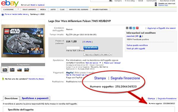 guida ebay dove si trova il numero oggetto fare affari online