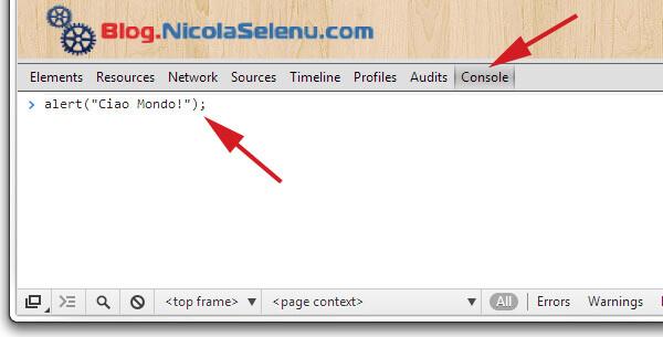javascript console google chrome ctrl-shift-j nicola selenu blog