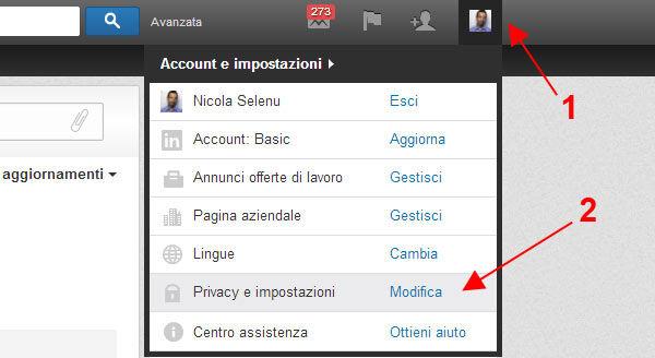 linkedin account e impostazioni privacy e impostazioni modifica aggiornamenti